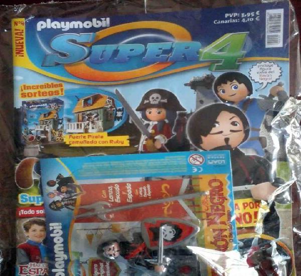 Precintado: revista playmobil nº 4 super 4 + figura