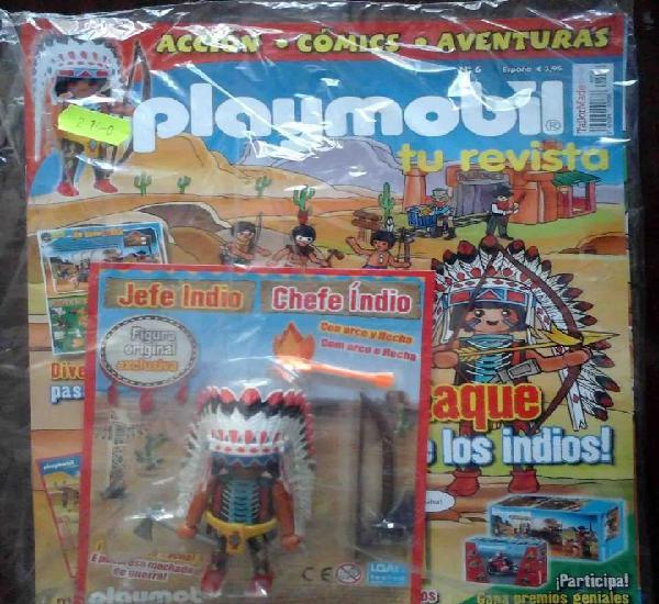 Precintado: revista playmobil nº 6 + figura exclusiva jefe