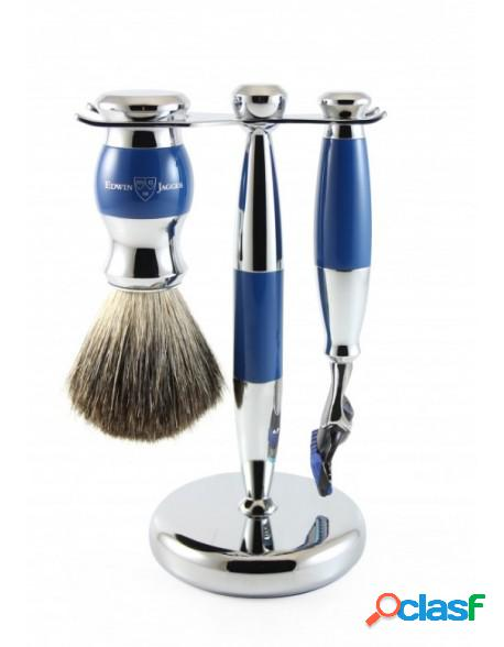 Set gillette fusion proglide razor, shaving brush synthetic fibre and stand blue