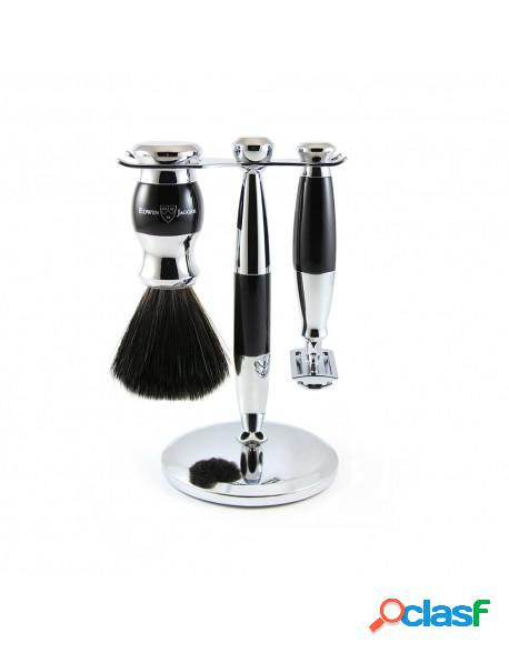 Set clasic razor, shaving brush synthetic fibre and stand black
