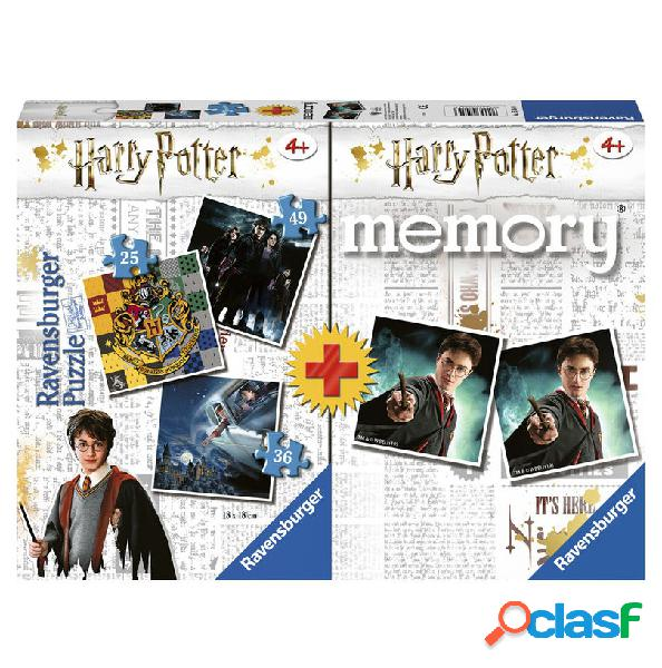 Pack 3 puzzles + memory harry potter ravensburger