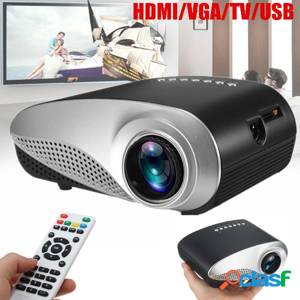 802 mini portátil 1080p 3d hd led proyector cine en casa multimedia usb vga hdmi tv