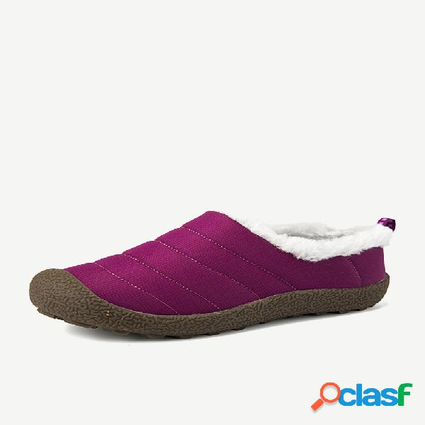 Mujer forro cálido impermeable colth flats snow botas