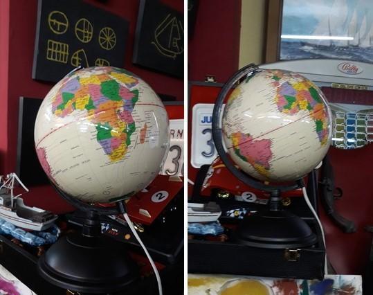 Lámpara bola mapa mundi. 20 cm diámetro