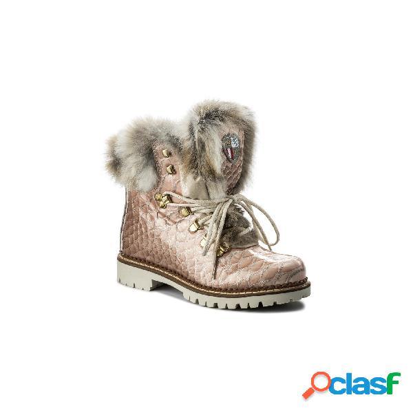 New Italia Shoes - Nis Tex Air On Feet Botines Planos De Mujer, Talla 37 - 1515404A/54 SCARPONCINO VITELLO PYTHON GLITTER ROSA