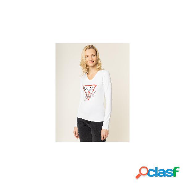 Guess camisetas de manga larga de mujer, talla xl - w01i0fj1300 ls rn icon tee blanco