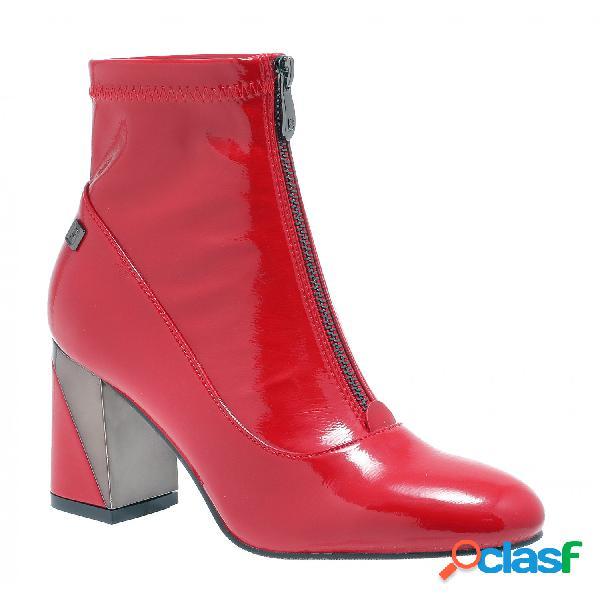 Laura biagiotti botines tacón alto de mujer, talla 38 - 5763 tronchetto donna f.do gomma patent rojo