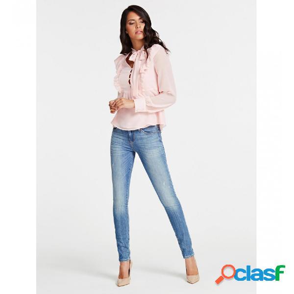 Guess camisetas de manga larga de mujer, talla xl - w01h65w8sl0 ls juna top rosa