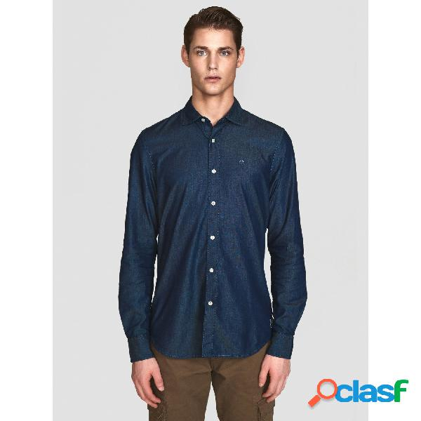North sails camisas manga larga de hombre, talla m - 663530 shirt l/s point collar slim jeans marino
