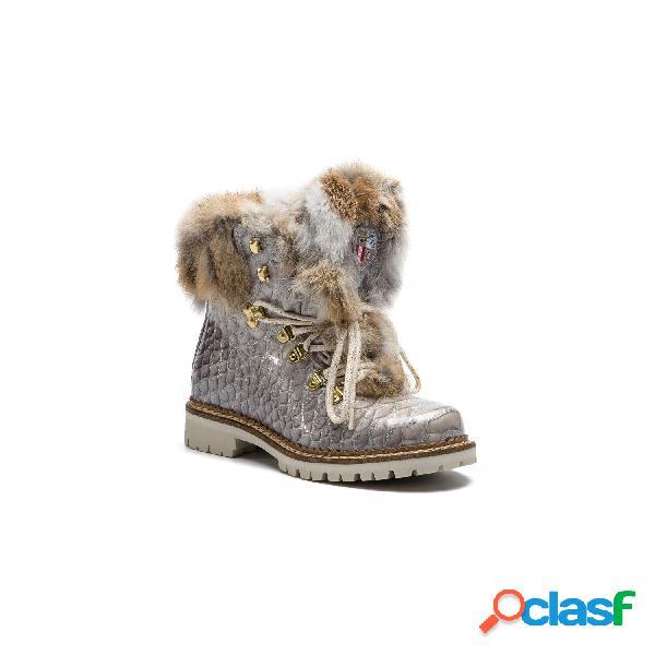 New italia shoes - nis tex air on feet botines planos de mujer, talla 38 - 1515404a/53 scarponcino pelle vitello cocco gris