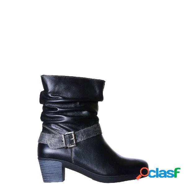 Paul & keni botas caña media tacón alto de mujer, talla 40 - 261124 bota piel y piel tejus negro