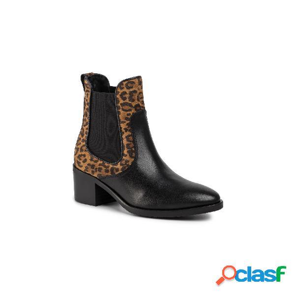 Tommy hilfiger botines tacón medio de mujer, talla 40 - fw0fw04533 leo print chelsea negro-leopardo