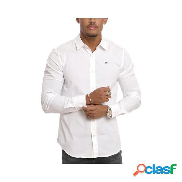 Tommy hilfiger camisas manga larga de hombre, talla m - dm0dm04405 tjm original stretch l/s blanco