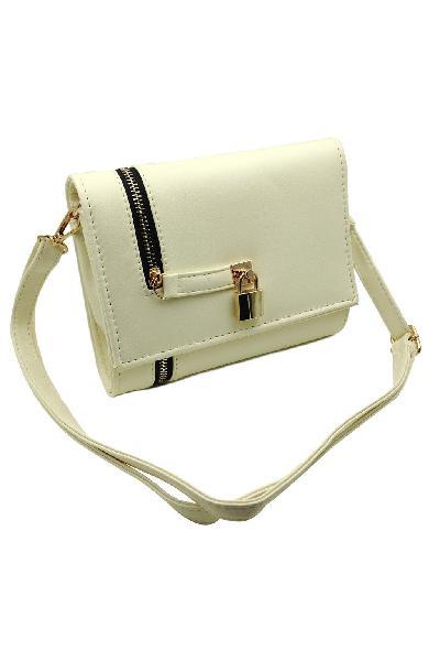 Beige small lock handbag