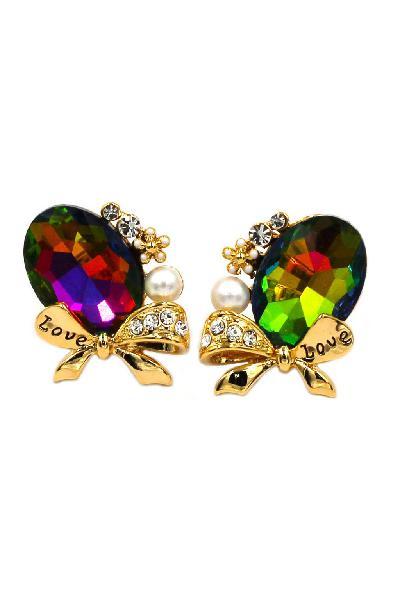 Elegant white black pearl pendant crystal earrings