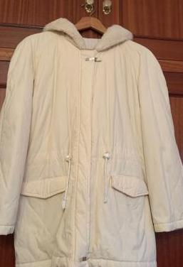 Abrigo mujer color blanco roto