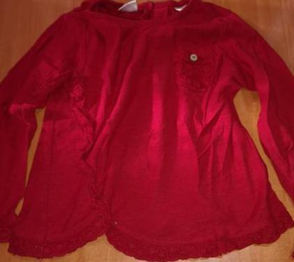 Camiseta roja m/larga zara 2/3 años