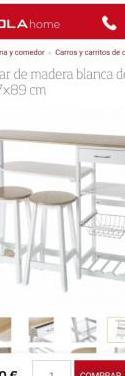 Mesa auxiliar cocina con taburetes