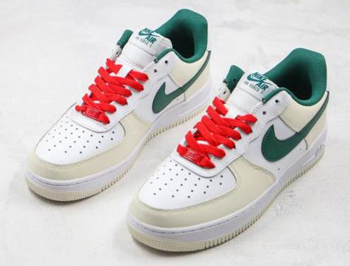 Nike air force 1 (white, green, red)