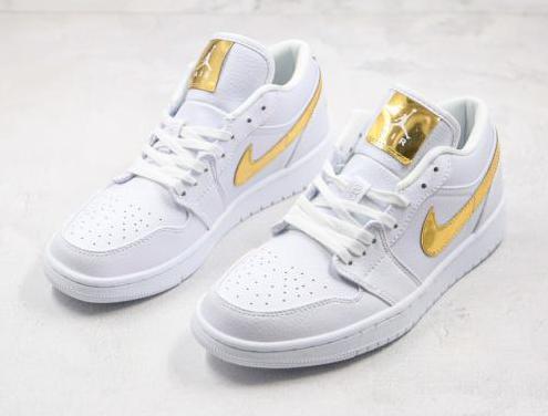 Nike air jordan 1 low (white, gold)