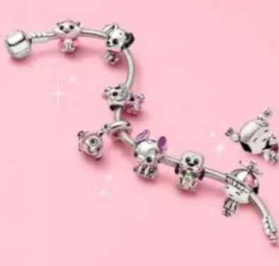 Pulsera pandora charms lilo niña plata