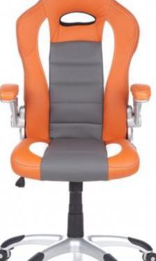 Silla gaming naranja / blanco / gris