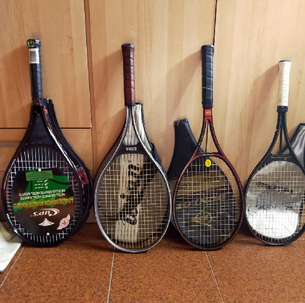 5 raquetas y 2 raqueteros de tenis
