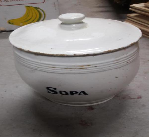 Antiguo tarro de cocina alvarelos loza blanca