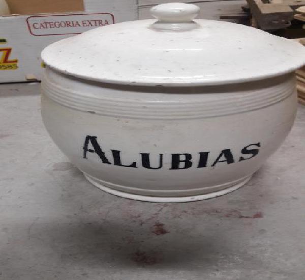 Antiguo tarro de cocina alvarelos loza blanca alubias