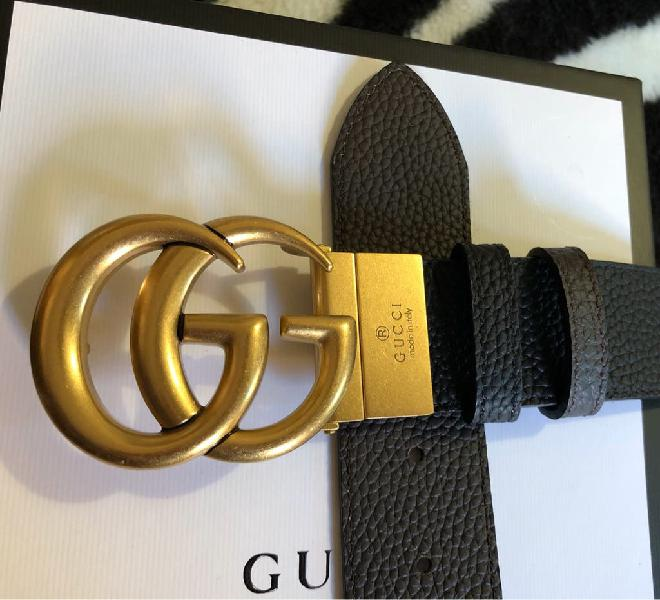 Cinturón gucci doble g reversible negro/marrón 4cm