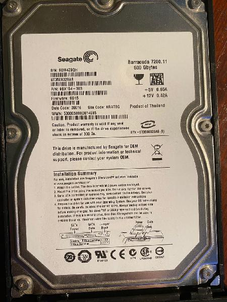 """Disco duro externo 3,5"""" seagate 500gb"""
