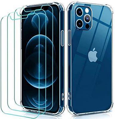 Funda tpu iphone 12 pro/iphone 12 + 3 protectores
