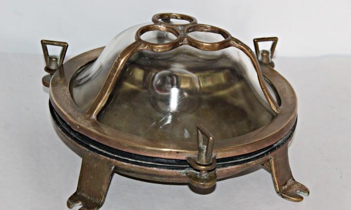 Lámpara de pasadizo (1) - bronce y vidrio - primera mitad