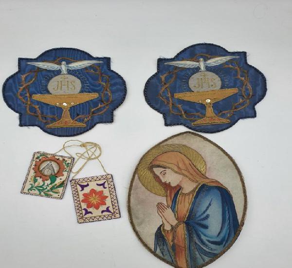 4 piezas bordadas con hilo de oro (religión) nuevos
