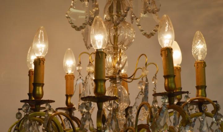 Lámpara de techo, cristal y bronce