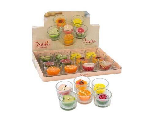 Velas de frutas aroma (caja 12 uds.)