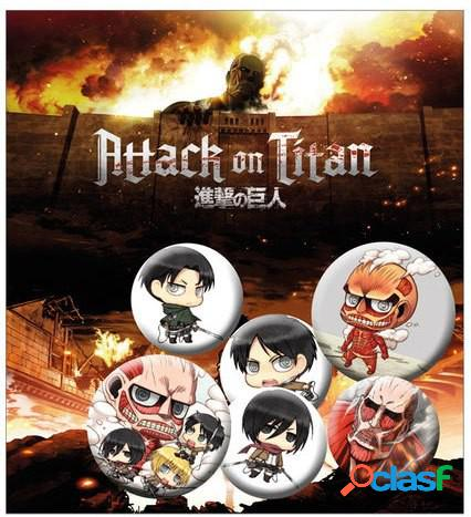 Pack 5 chapas attack on titan