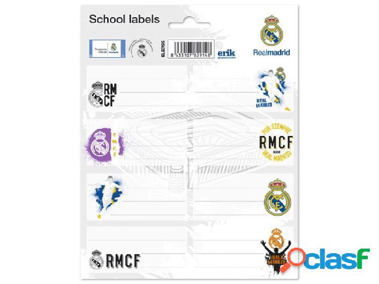 Etiquetas escolares real madrid 16 x 20 cm