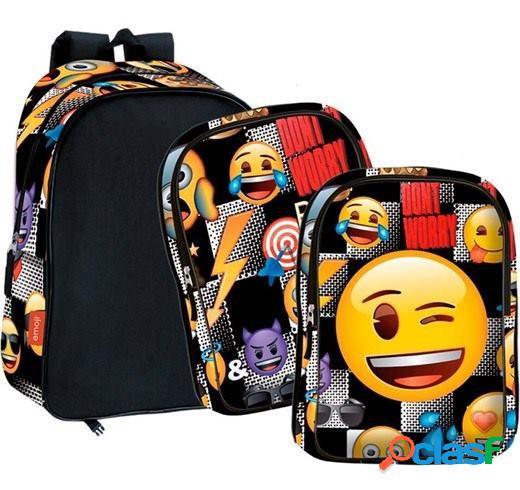 Mochila Emoji Sticker bolsillos intercambiables