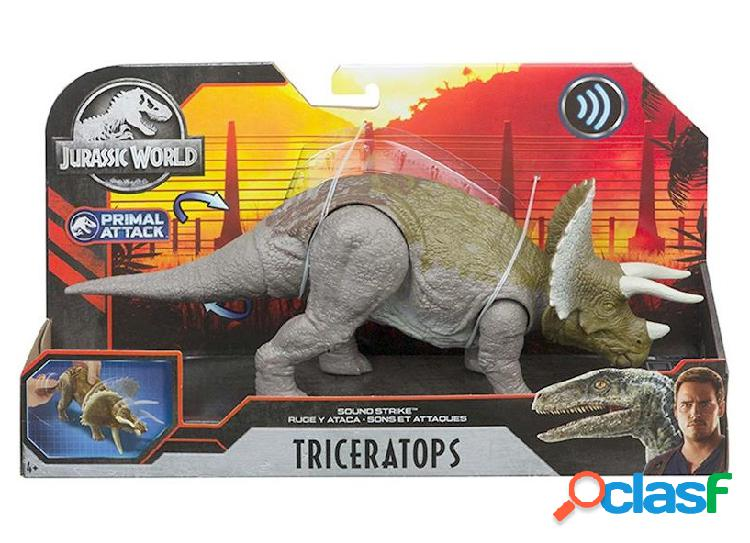 Figura dinosaurio triceratops jurassic world con sonido