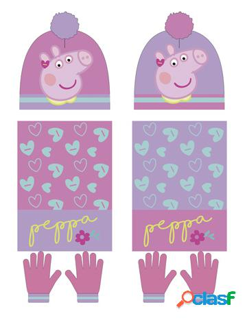 Set gorro + guantes + bufanda Peppa Pig