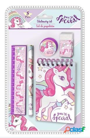 Set papeleria unicornio 5 piezas