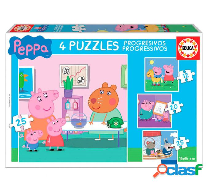 Pack 4 puzzles progresivos peppa pig educa