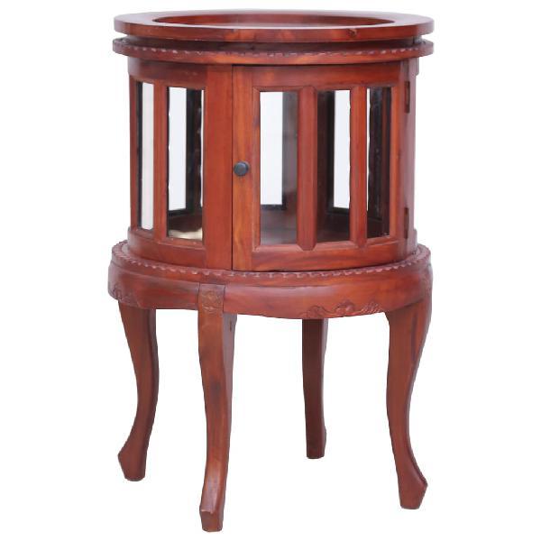 Armario vitrina de madera maciza de caoba marrón