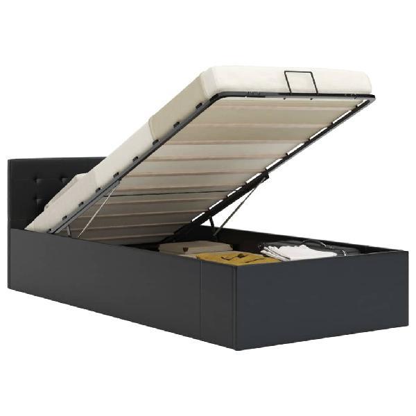 Cama canapé hidráulica cuero sintético negro 90x2