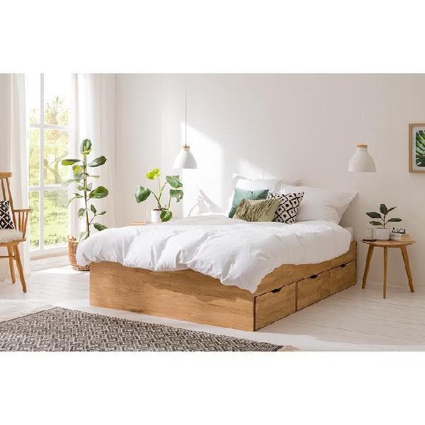 Cama con almacenaje de madera maciza de roble