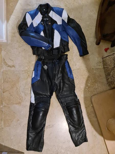 Chaqueta y pantalón cuero moto mujer racing