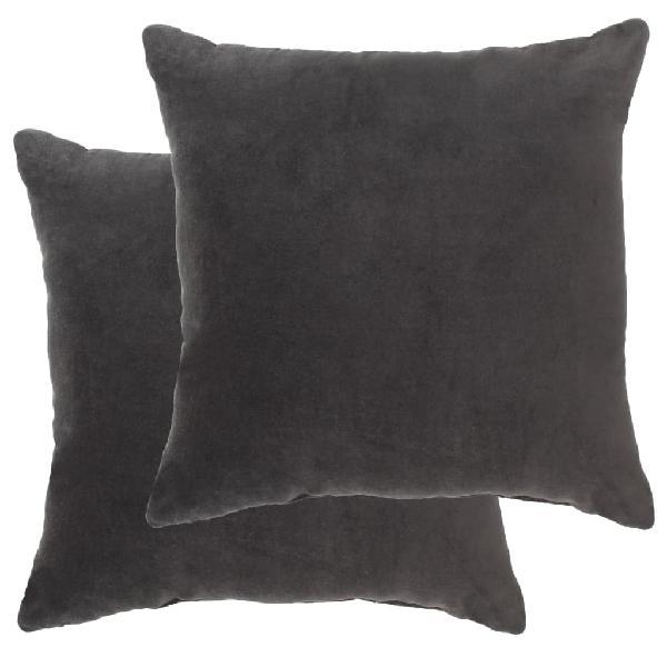 Cojines 2 uds terciopelo de algodón gris antracit