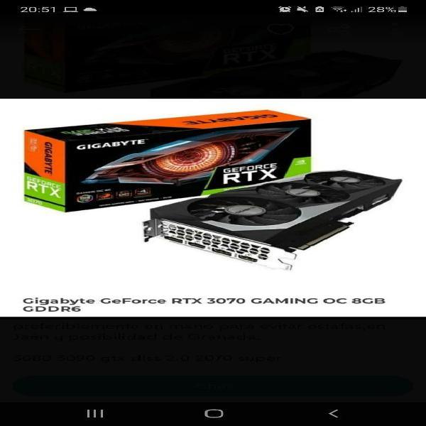Rtx 3070 gigabyte gaming oc nueva.