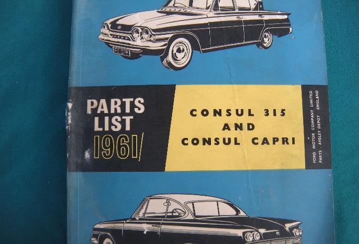 Libro despiece ford consul 315 y consul capri, año 1961